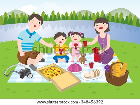 happy family having picnic park stock vector  royalty free cookout clip art pic cookout clip art pic