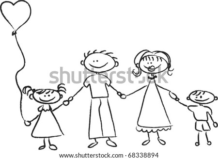 Happy Family Holding Hands Hand Drawing Stock Vector 68338894 - Shutterstock