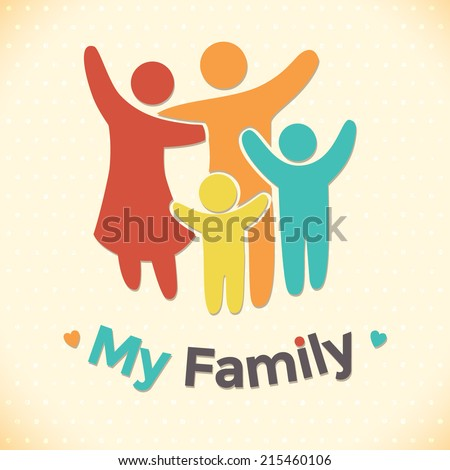 Happy family icon multicolored in simple figures. two children, dad and mom stand together. Vector can be used as logotype - stock vector