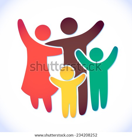 Happy family icon multicolored in simple figures. two children, dad and mom stand together. Vector can be used as logotype