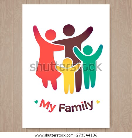 Happy family icon multicolored in simple figures. two children, dad and mom stand together. Vector can be used as logotype. Card illustration - stock vector