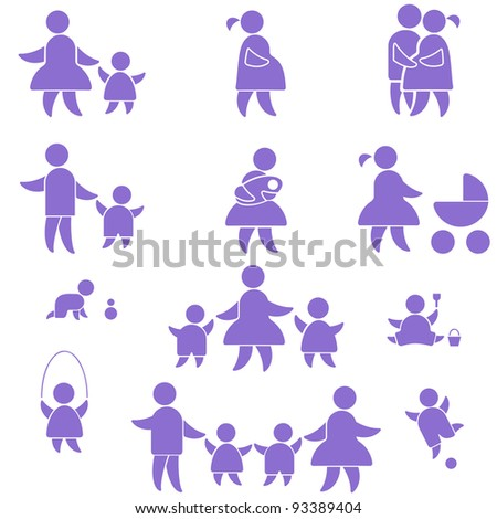 happy family icon. set symbol person:  mother, father and kids isolated on white - stock vector