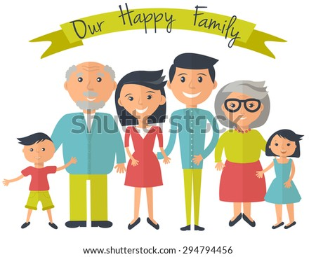 Happy family illustration. Father, mother, grandparents, son and daughter portrait with banner. - stock vector