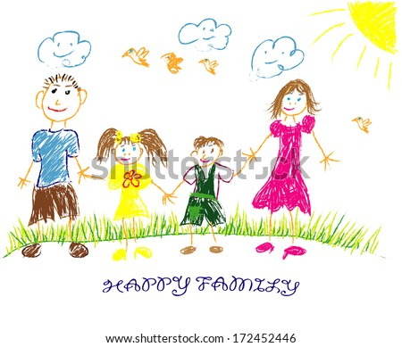 happy family illustration/vector. Child draws his family - stock vector