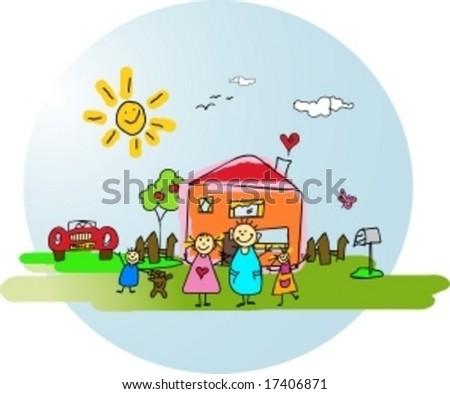 Happy family in front of their house,garden and car on a sunny day. - stock vector