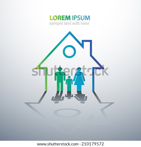 Happy family in house concept vector illustration - stock vector