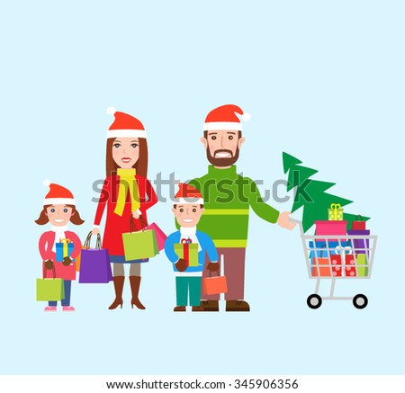 happy family in santa hats with shopping bags and shopping cart. family shopping.christmas shopping - stock vector