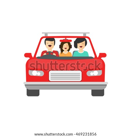 Happy family inside car driving vector illustration isolated on white background, flat cartoon people together drive auto with smiling faces, concept of family trip, journey