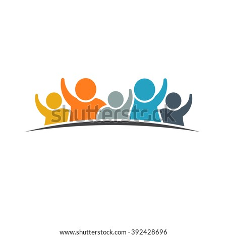 Happy family logo. VEctor graphic design - stock vector