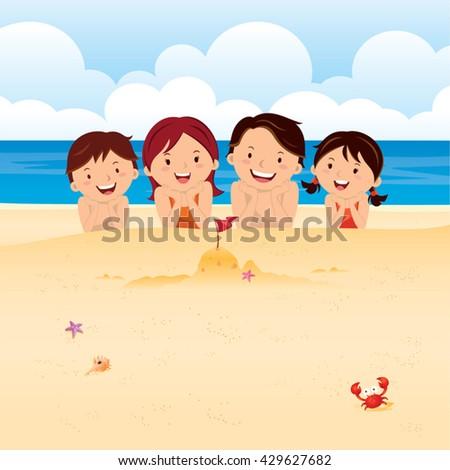 Happy family lying on beach. Family having fun at the beach. - stock vector