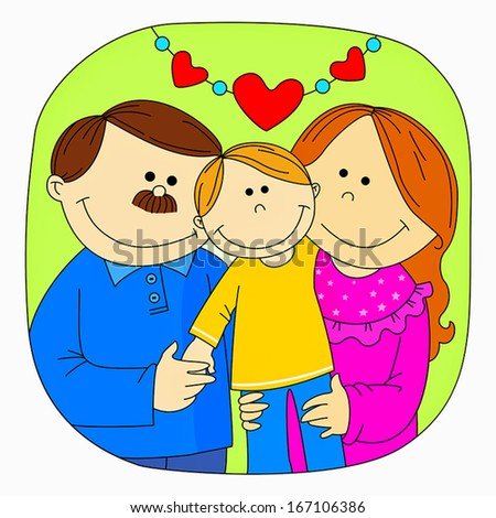 Happy family - Mom, dad, and son - stock vector
