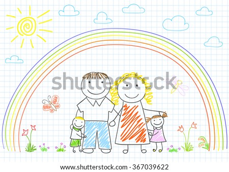Happy family - mom, dad and two children. Sketch on notebook page - stock vector