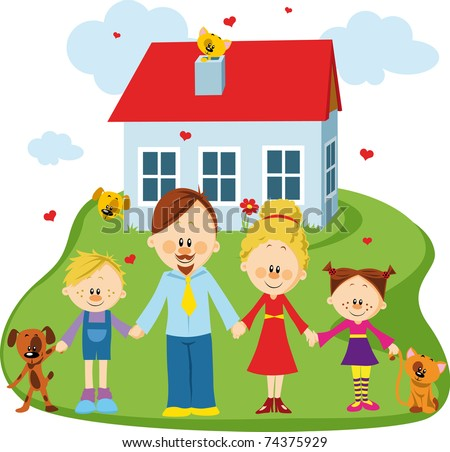 Happy family on a threshold of their house - stock vector