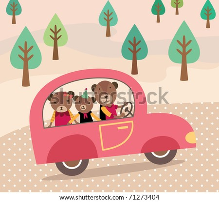 Happy Family on Car for Vocation. Cute Bears Family. Vector illustration. - stock vector