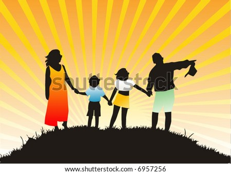 Happy family on nature - stock vector
