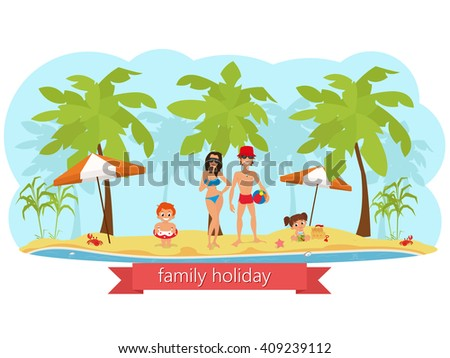happy family on the beach. mom dad son and daughter. vector - stock vector