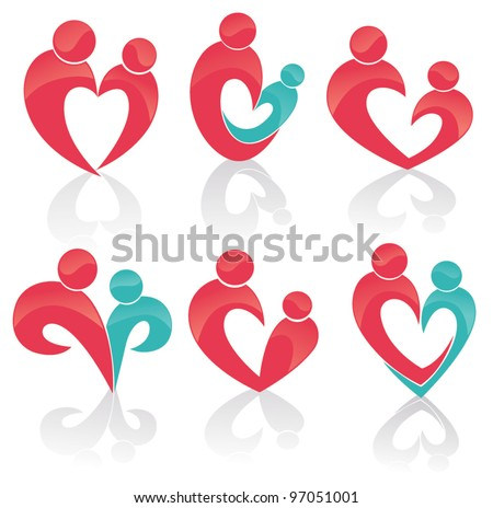 happy family, parents, child, man and woman symbols - stock vector