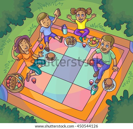 Happy family picnic resting outdoors. Happy Family Lifestyle Summer Vocation Rest medow. Upside View. Vector Illustration.
