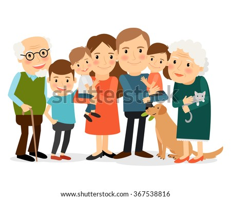 Happy family portrait. Father and mother, son and daughter, grandparents in one picture together. Vector illustration. - stock vector