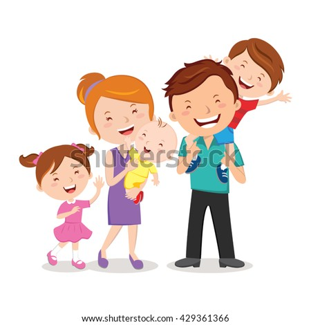 Happy family portraits. Happy family gesturing with cheerful smile. - stock vector