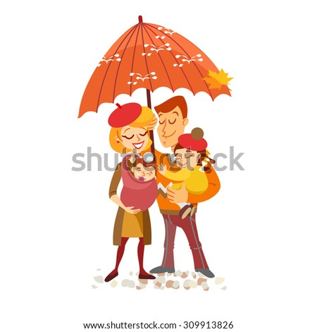Happy family portrait in autumn. Isolated on white background. Vector illustration - stock vector