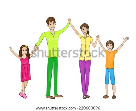 Happy family raised arms up four people, parents holding hands with with two children embrace, vector illustration - stock vector