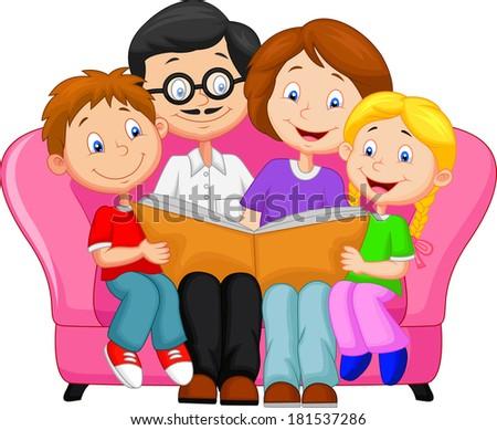 Happy family reading book - stock vector