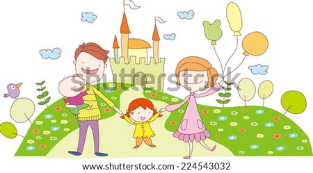 Happy family recreation in the amusement park - stock vector