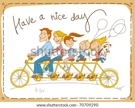 Happy family riding a tandem bicycle. Vector illustration. - stock vector