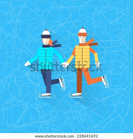 Happy family skating. Figure ice skating. Winter sports. Boy and girl holding hands and skating. Smiling couple on a skating rink.  Ice background. Happy new year. Merry Christmas. - stock vector