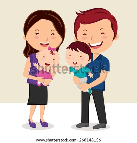 Happy family smiling. Cheerful family portrait. - stock vector