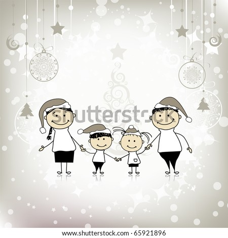 Happy family smiling together, christmas holiday - stock vector