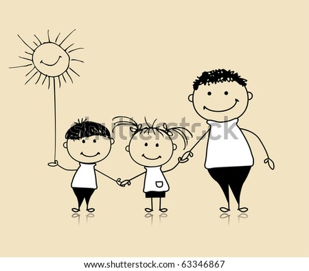 Happy family smiling together, father and children, drawing sketch - stock vector