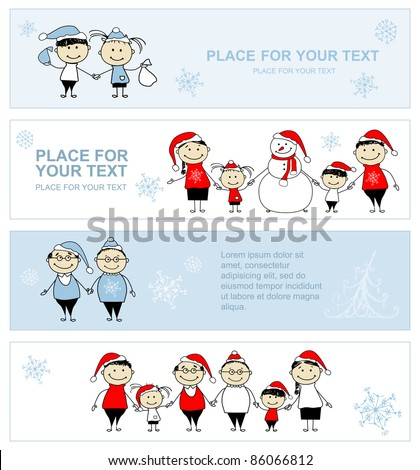 Happy family together, christmas holiday banner for your design - stock vector