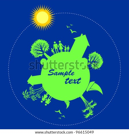 Happy family. Travel background with miniature globe and place for your text. Vector illustration.