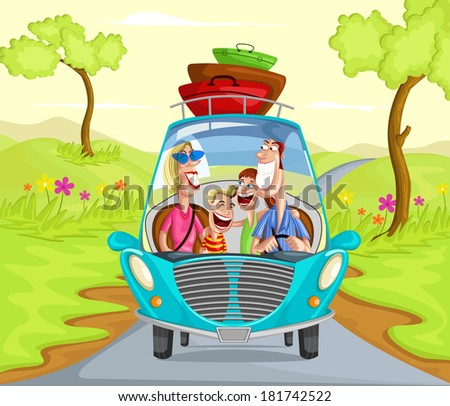 Happy family traveling in car going from trip - stock vector
