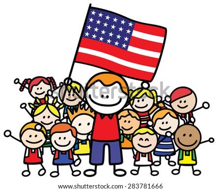 Happy family USA - stock vector