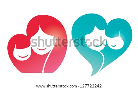 happy family vector silhouette, mother and daughter smiling - stock vector