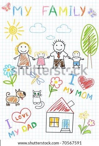 Happy family. Vector sketch on notebook page