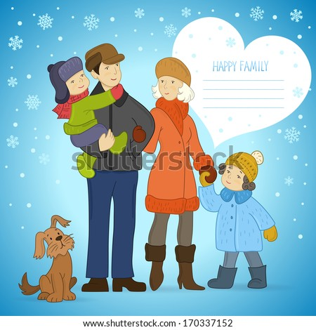 Happy family. Vector winter background with family: mother, father, daughter, son and dog. Heart-shaped space for your text. Cartoon card. - stock vector