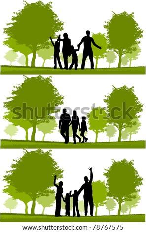 Happy family walking - stock vector