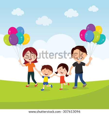 Happy family walking with balloons. Vector illustration of a cheerful family having fun with balloons. - stock vector