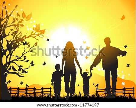 Happy family walks on nature, sunset - stock vector