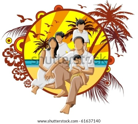 happy family with a mother father and their kids on the beach - stock vector