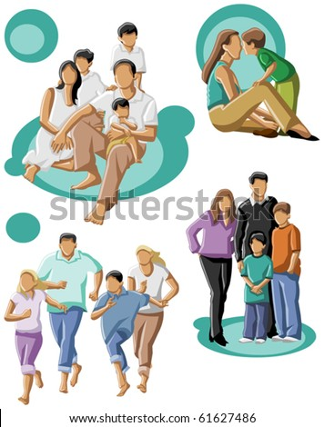 happy family with a mum and dad with their kids - stock vector