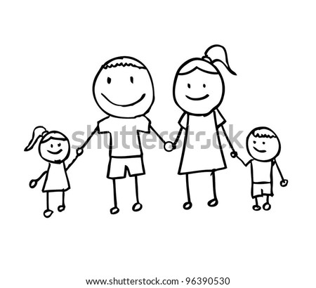 happy family with father,mother, and son holding hand, cartoon doodle - vector illustration