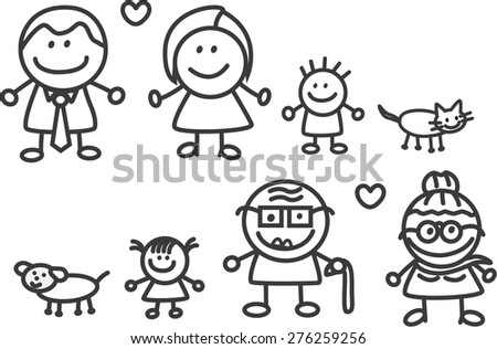 Happy family with Grand father and Mother - stock vector