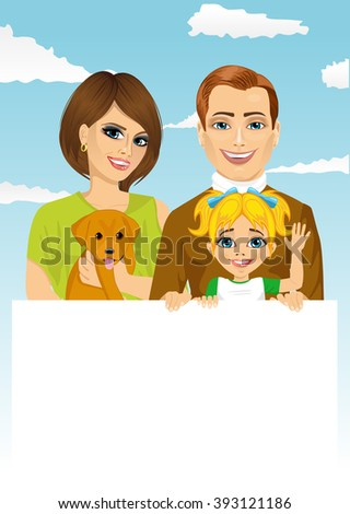 happy family with pet dog holding a white blank billboard - stock vector
