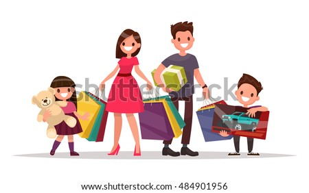 Happy family with shopping. Father mother, son and daughter are holding bags and gifts. Big Sale. Vector illustration of a flat design