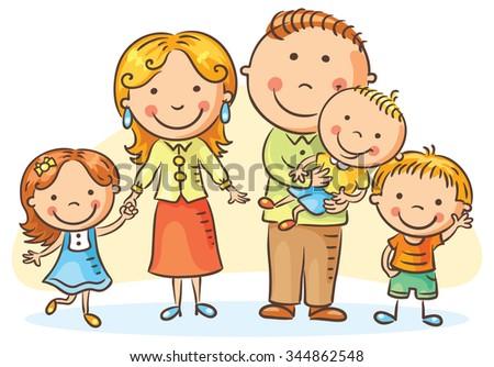 Happy Family Three Children No Gradients Stock Vector ...